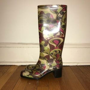 Emilio Pucci Shoes - Green and pink Emilio Pucci Rainboots